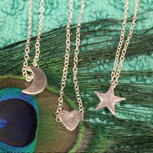 Jewelry - 🌺 Trio of Silver Star, Moon and Heart Necklaces